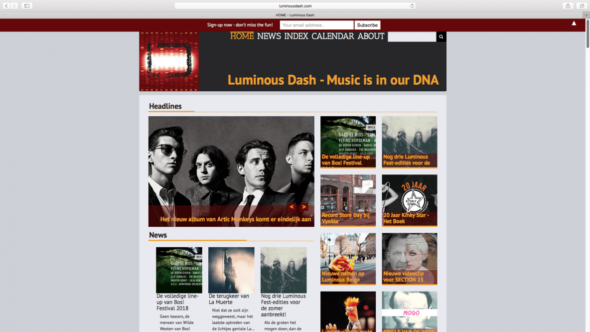 Homepagina van de website Luminous Dash