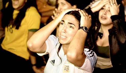 Argentina's fourth penalty is stopped by the German goalie
